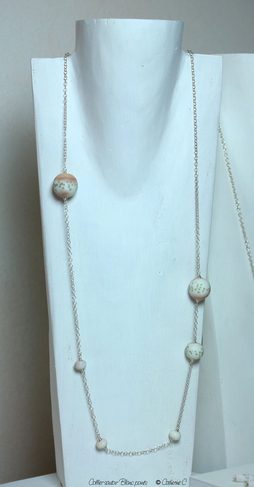 Collier sautoir Blanc points