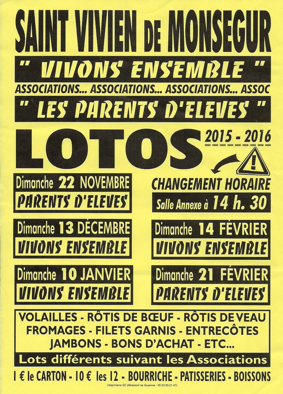 "LOTO DES ASSOCIATIONS ""VIVONS ENSEMBLE"" ET ""L'APE"""