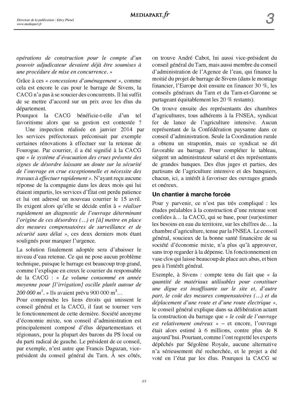 Le papier Médiapart du 29 octobre à propos du barrage de Sivens