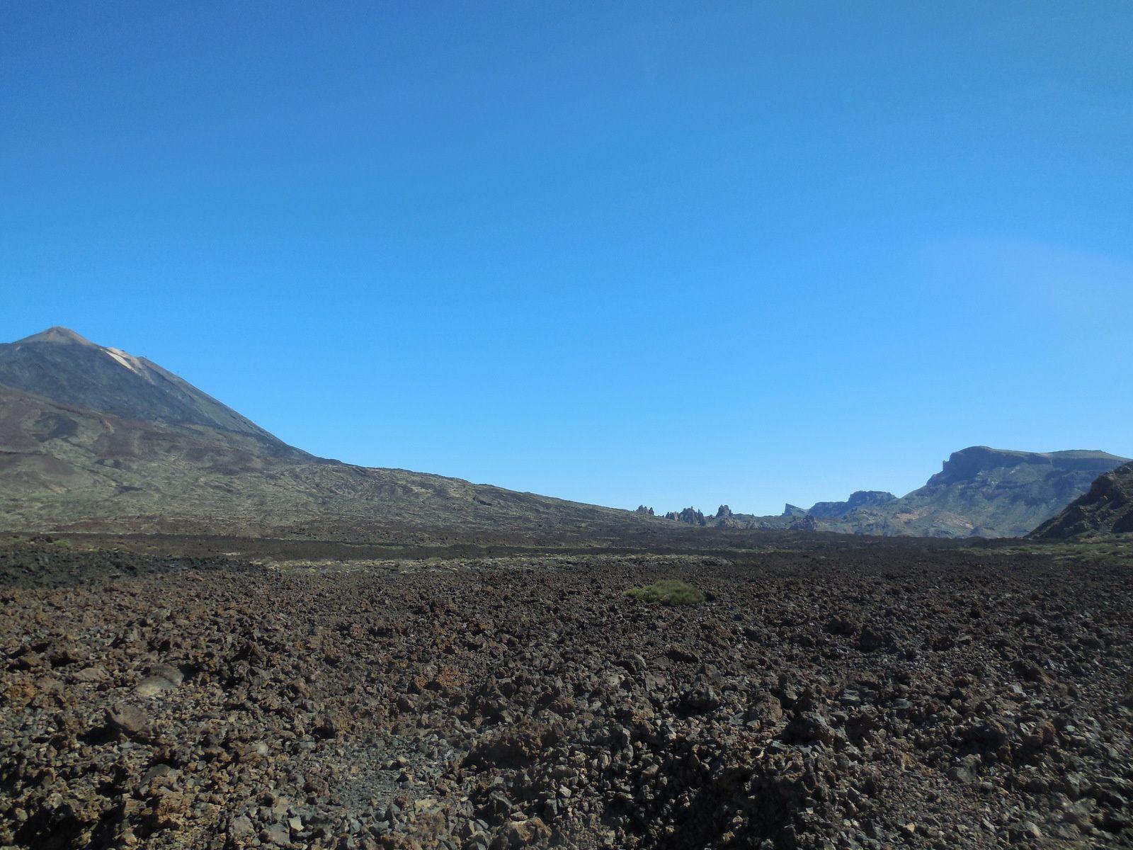 Vaste plaine de sable gris qui borde Las Cañadas...
