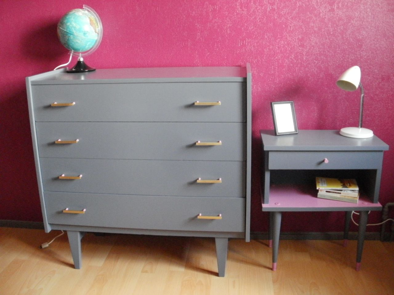 commode et chevet ann es 60 le blog de les aladines de fab. Black Bedroom Furniture Sets. Home Design Ideas