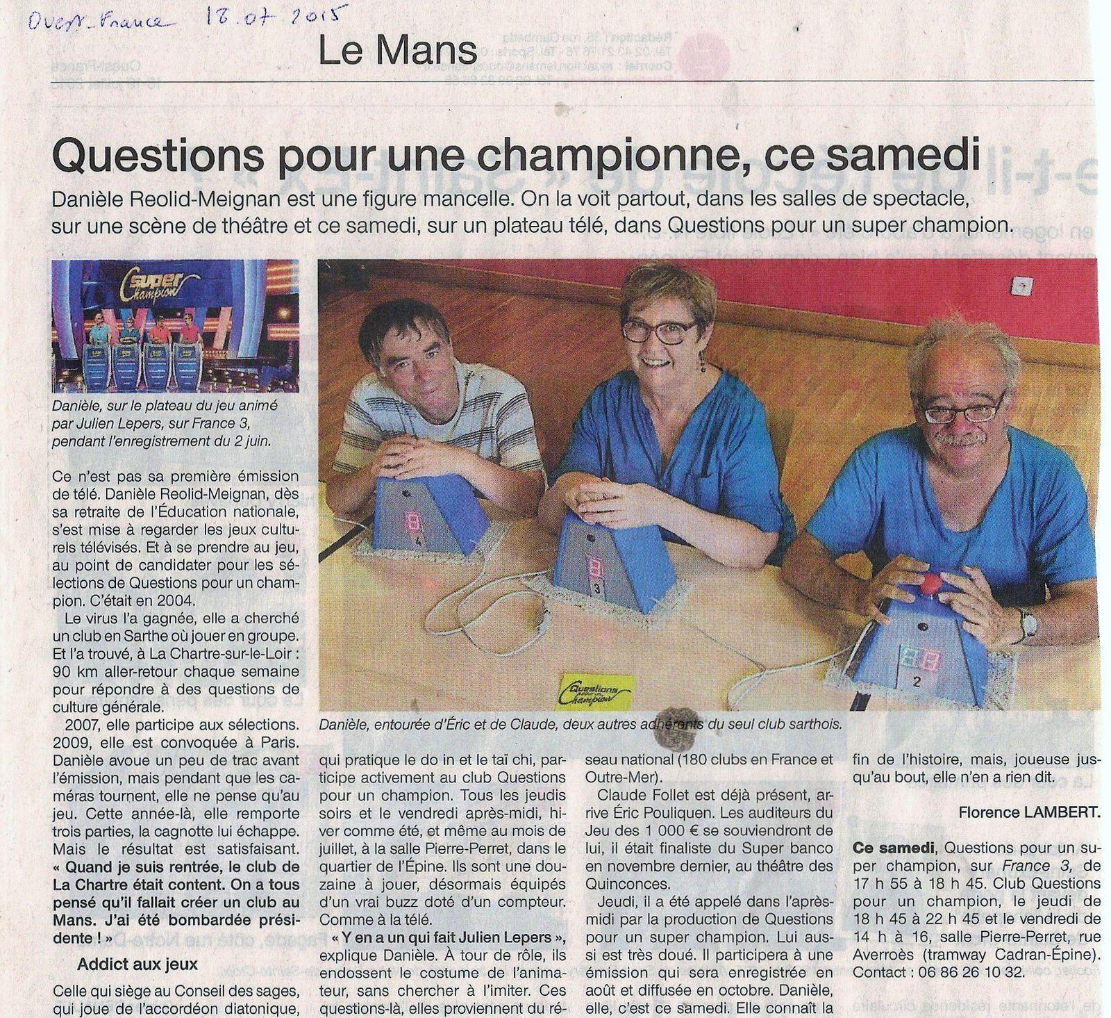 L'article de Ouest-France  ce matin!