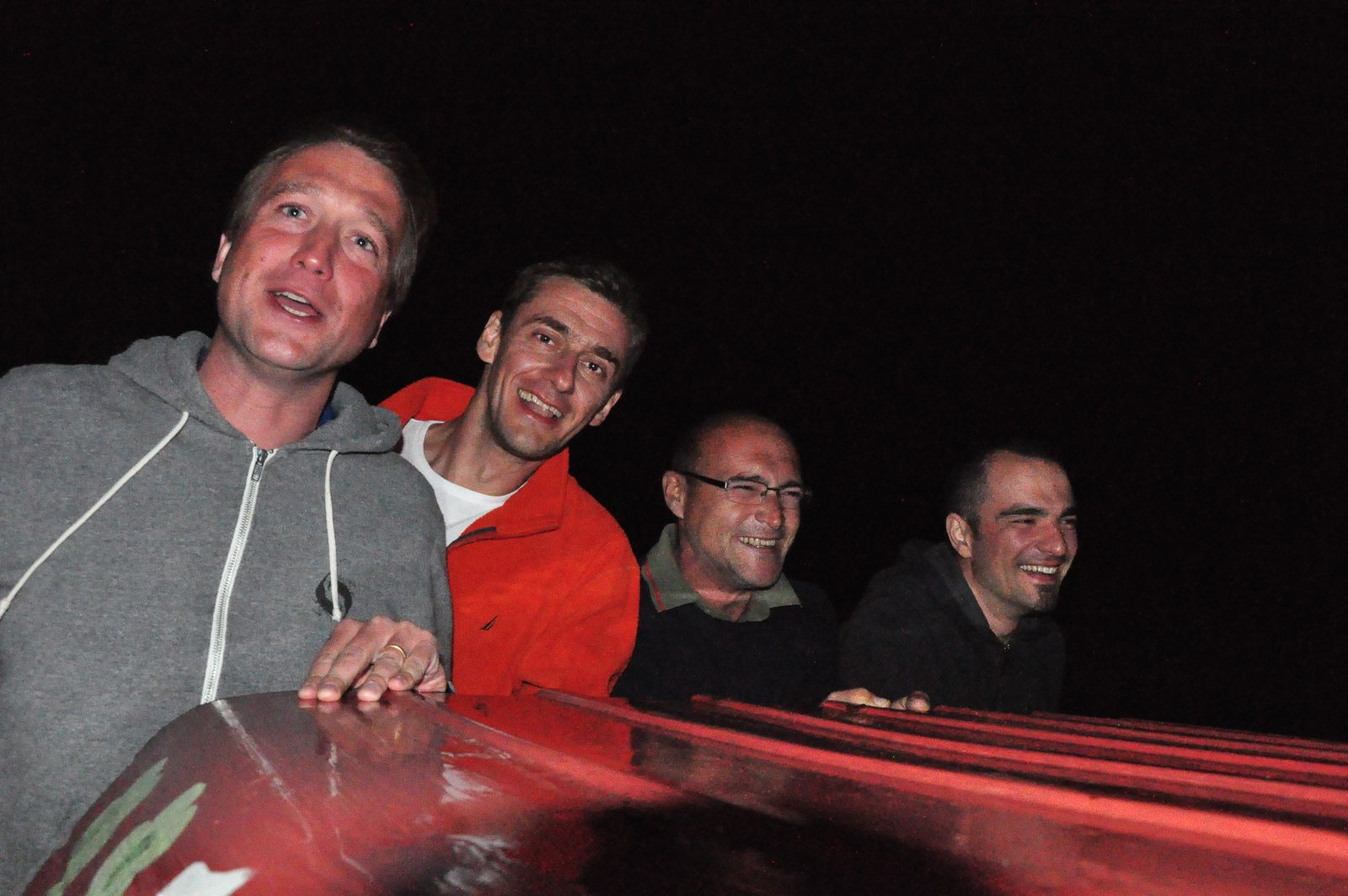 "Paul, Istvan, Tvrtko and myself when driving ""safely"" (photo by Romain)."