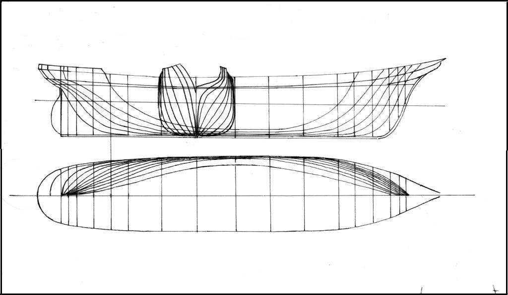 Les plans du Noorderlicht au format A4. (n'ayant pas pu être relevé sur la coque, le plan des formes est extrapolé et donc approximatif. Dessin Gérard Aubry.