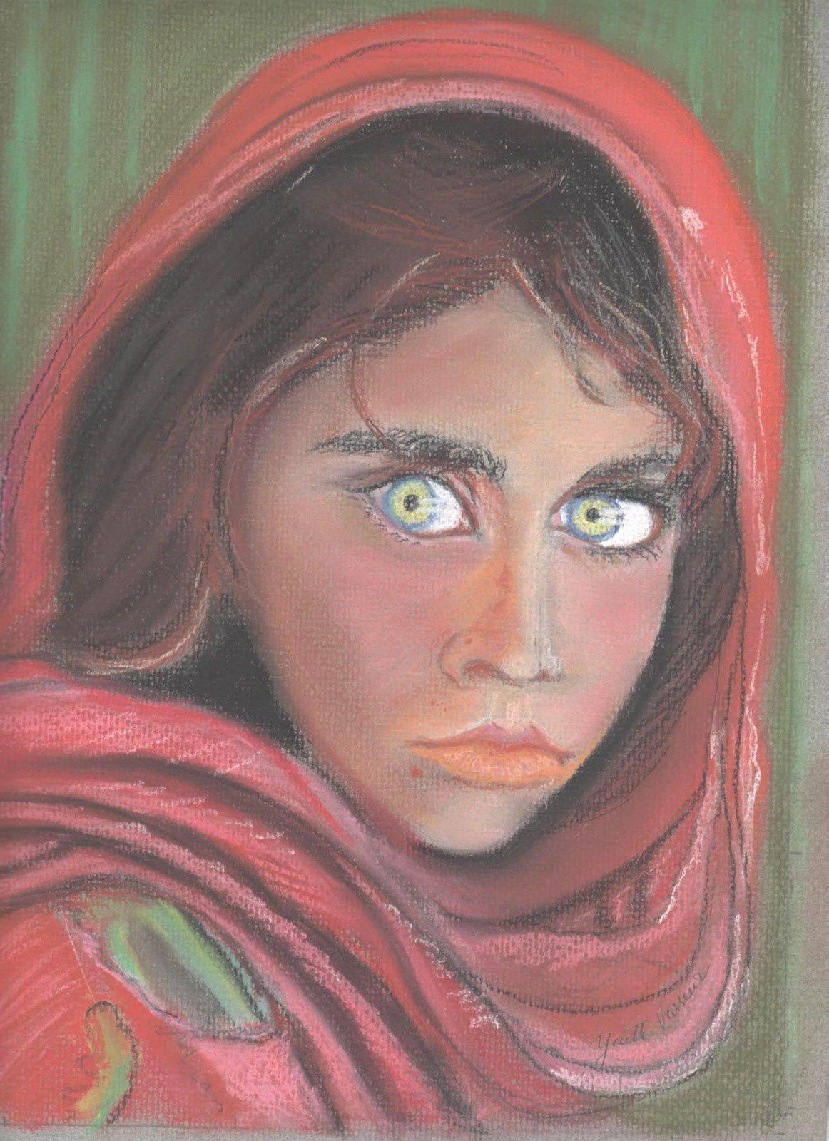 jeune afghane aux yeux clairs (pastel)