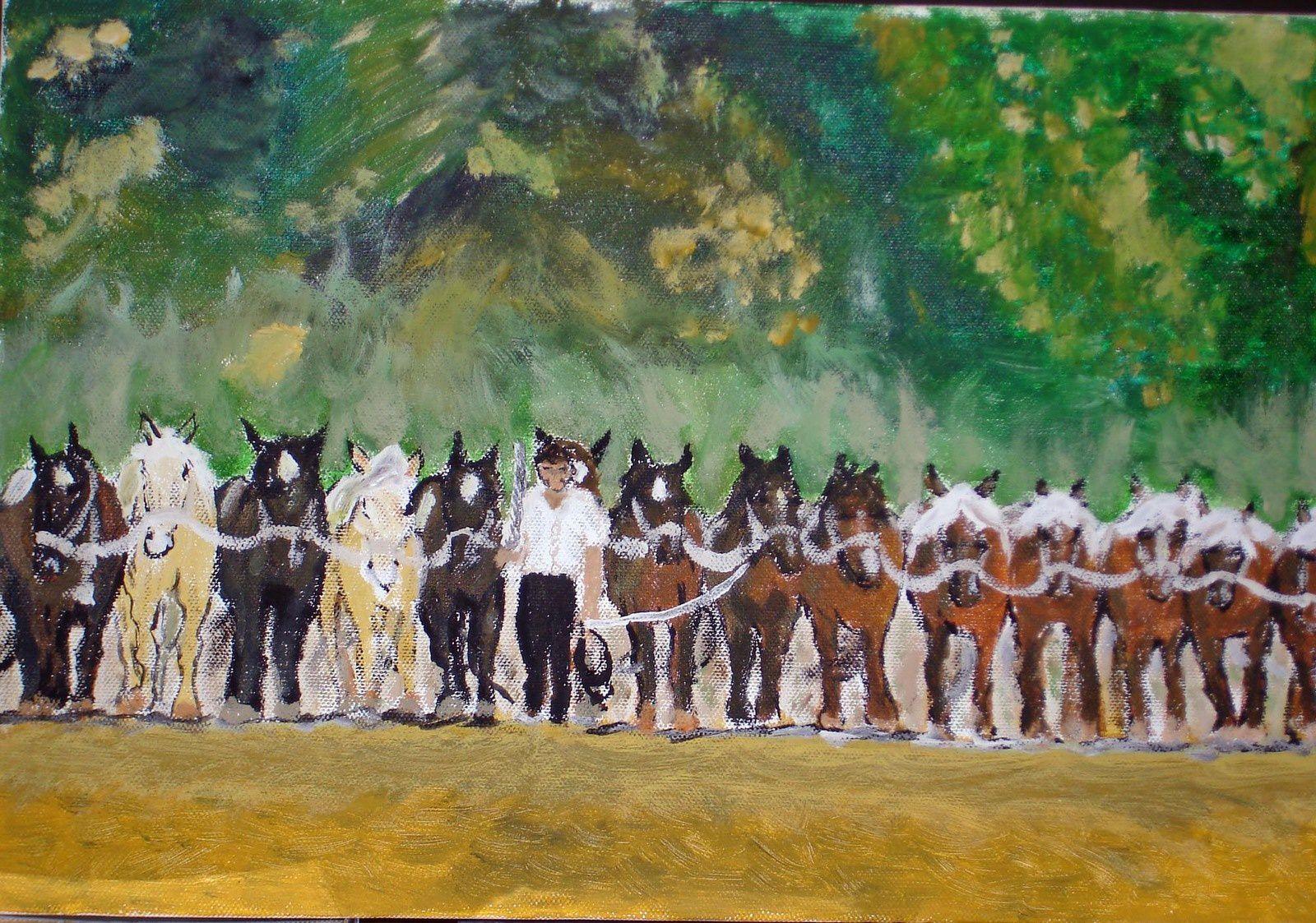 Dresseur aux 14 chevaux (acrylique)
