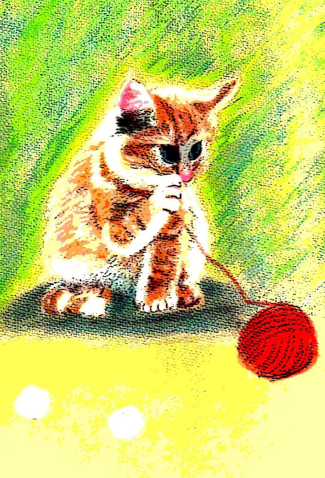 Chat roux à la pelote rouge (pastel)