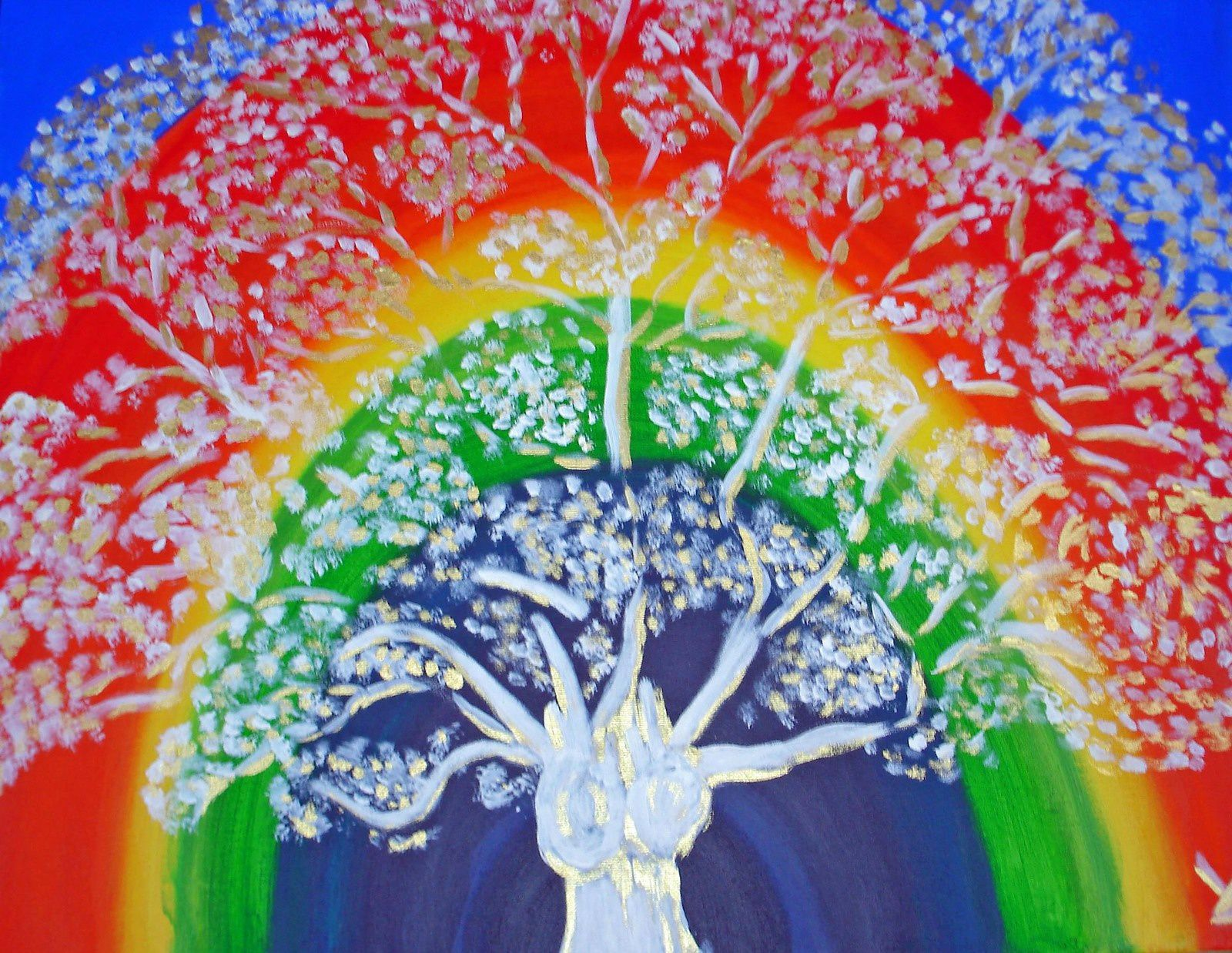 Grand arbre arc en ciel (acrylique)