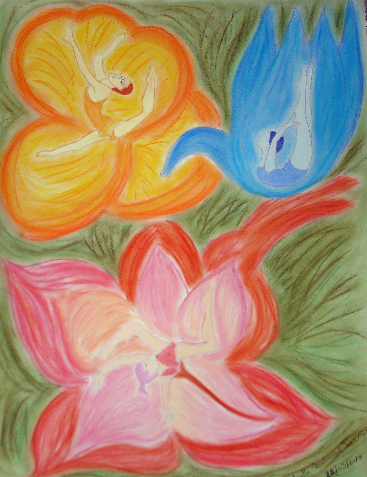 femmes fleurs (pastel)