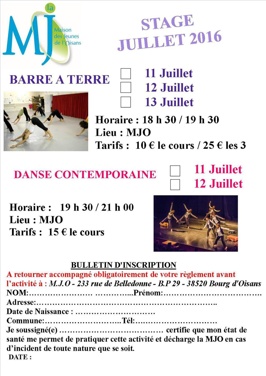 FLYER STAGE BARRE A TERRE/DANSE CONTEMPO