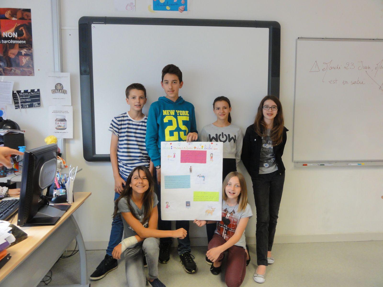 Echange avec des 5° latin cuvée 2014-2015 avec les élèves de CP-CE2 de Mme Grand
