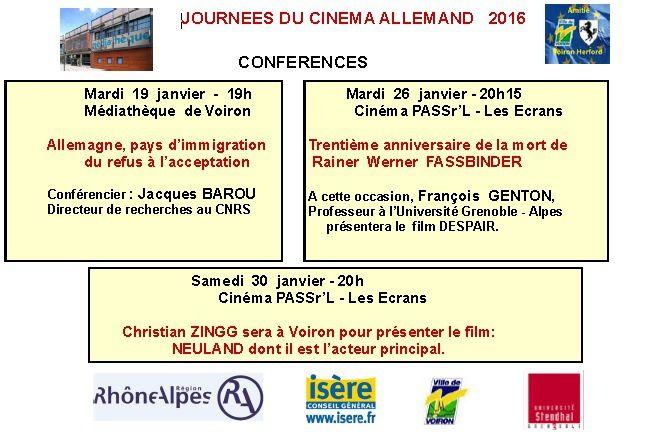 Programme des 8e journées du cinéma allemand à Voiron