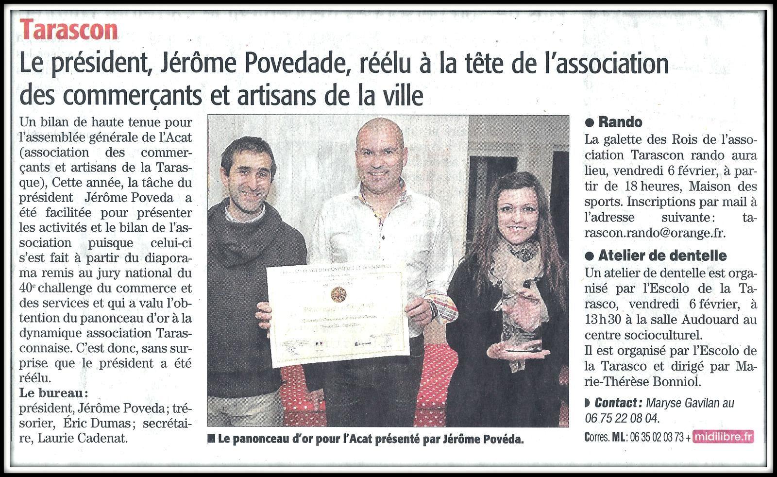 Article du Midi Libre  du jeudi 5 février 2015 - Assemblée Générale de l'A.C.A.T. - Nouveau Bureau - Diplôme & Trophée du Panonceau d'Or