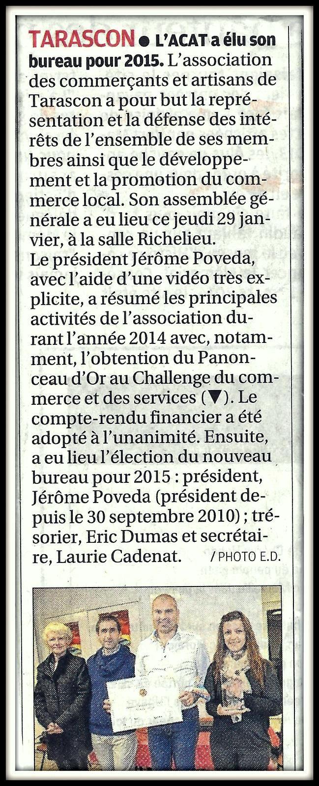 Article de La Provence - Février 2015 - Assemblée générale de l'A.C.A.T. - Nouveau Bureau administratif - Panonceau d'Or
