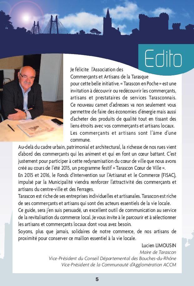 EDITO de Mr le Maire de Tarascon : Lucien Limousin