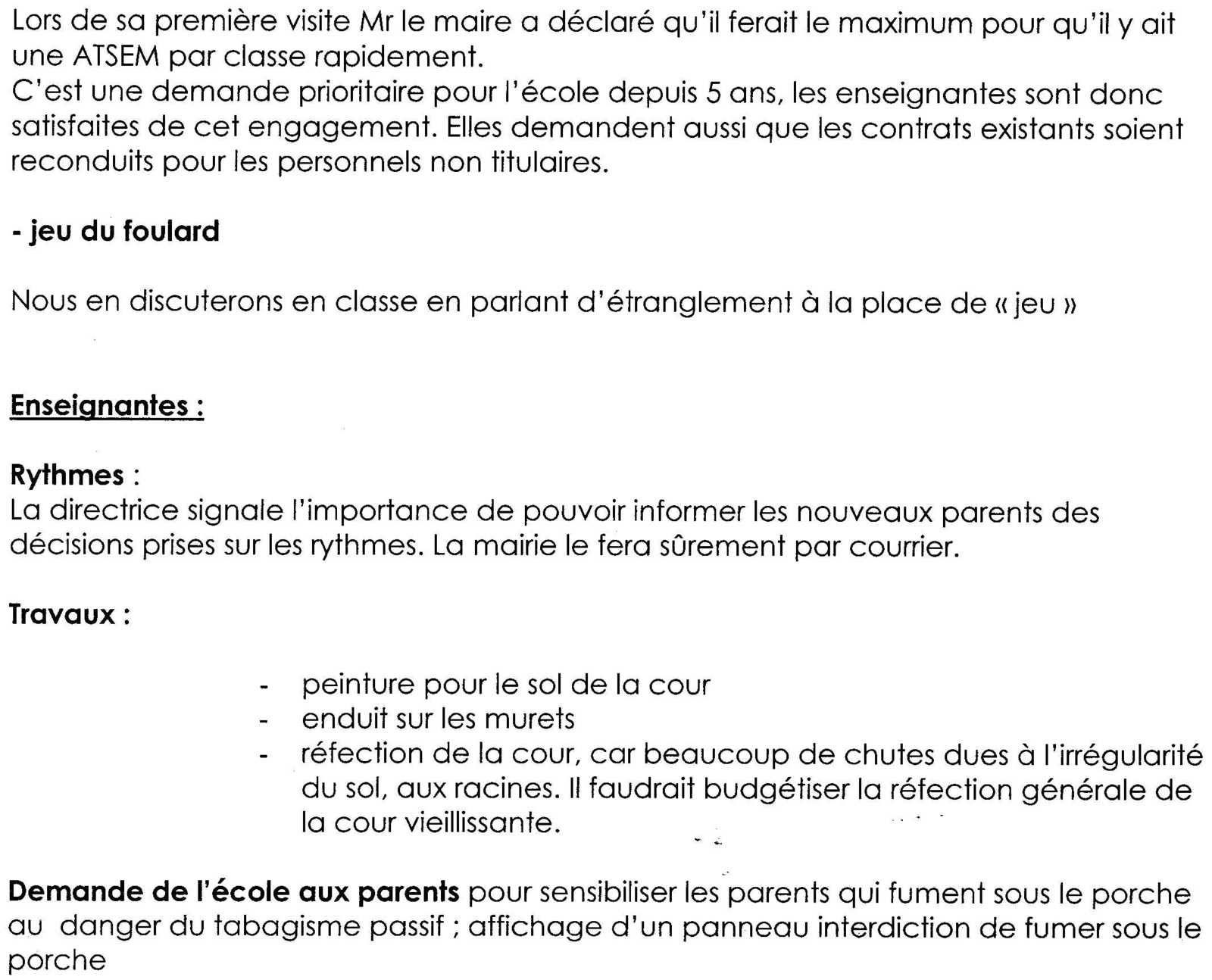 compte rendu conseil d'école de la maternelle Marcel Pagnol du 23 Mai 2014