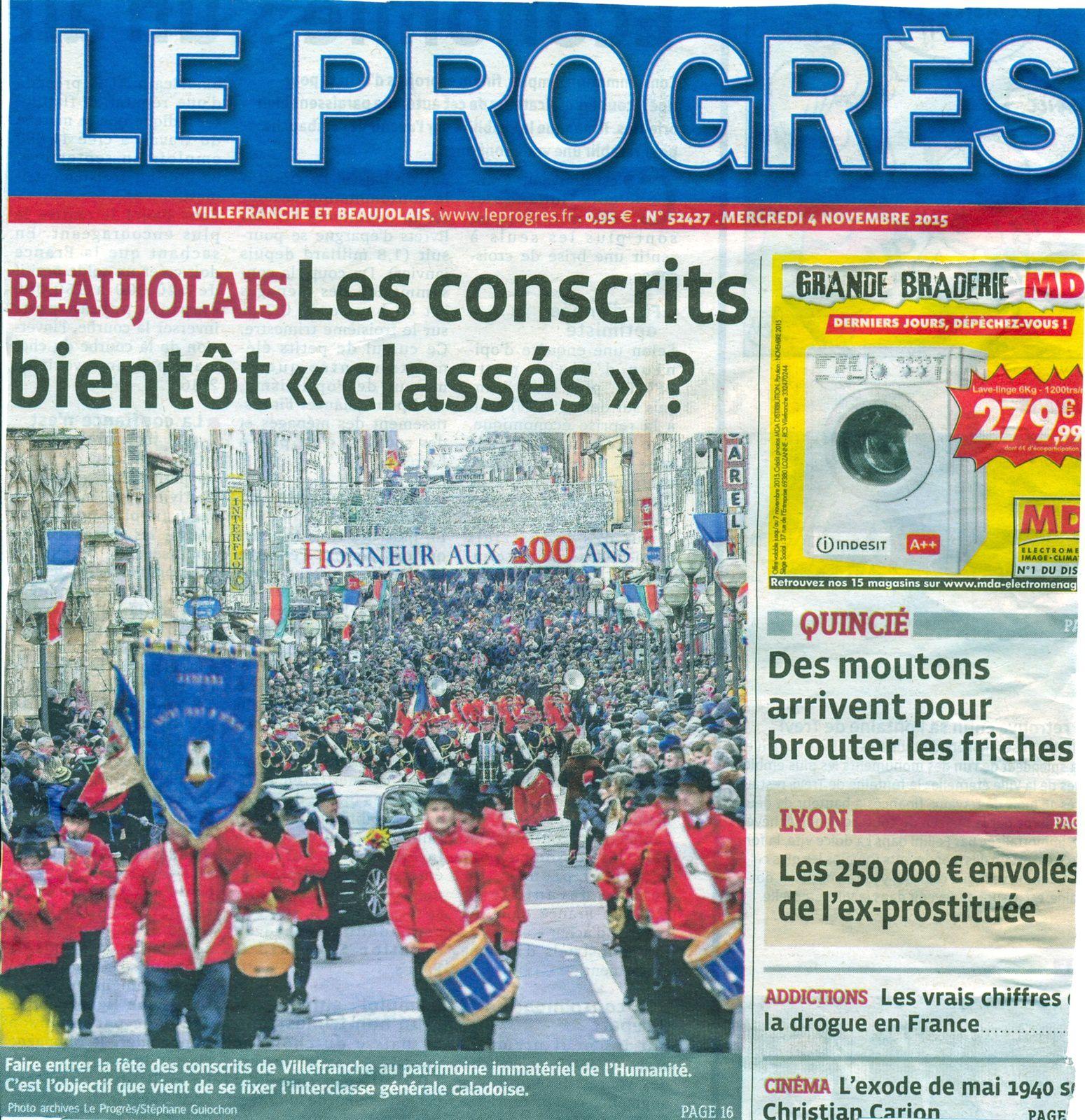 Article du journal Le Progrès du 4 novembre 2015, Gilles-Noël DOMAS
