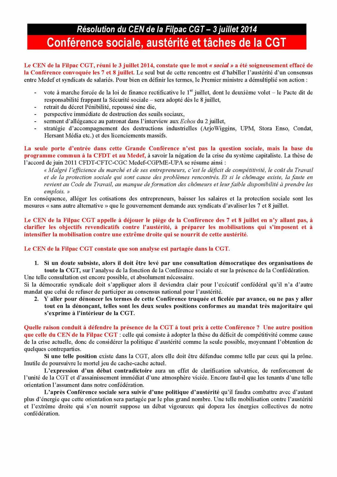 RESOLUTION DU CEN DE LA FILPAC CGT