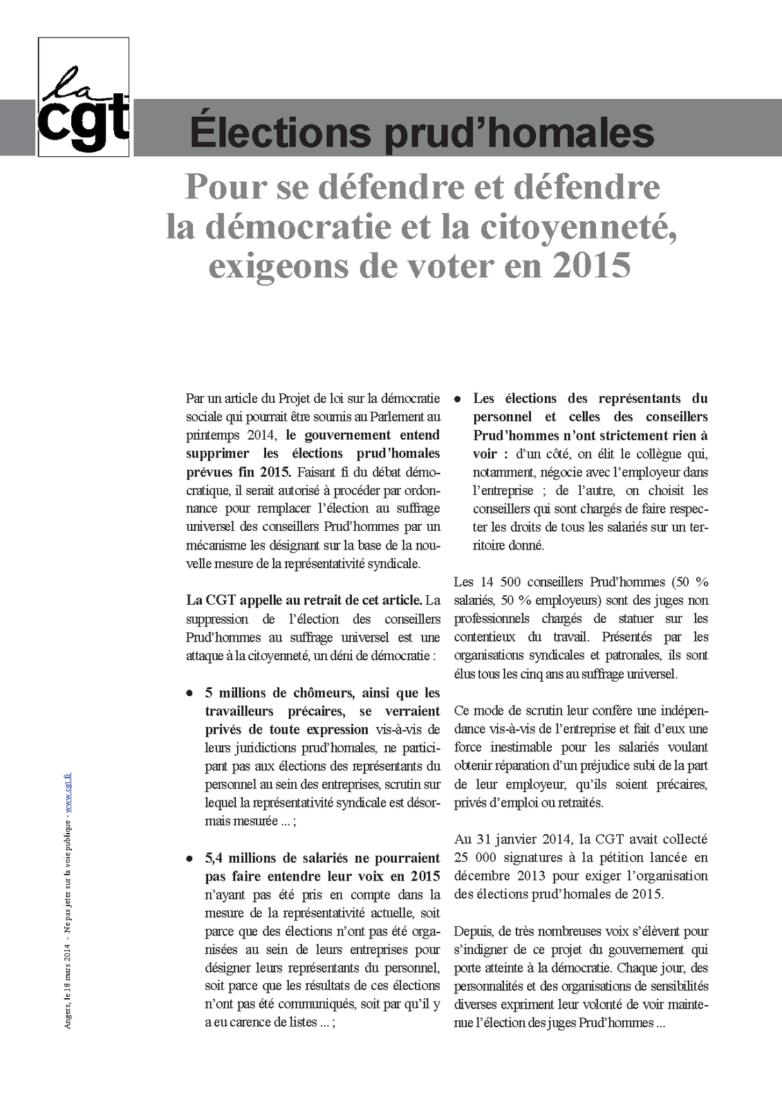 CAMPAGNE ELECTIONS PRUD'HOMALES 2015: