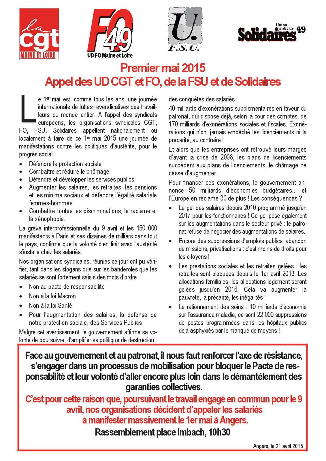 Tract appel commun Cgt, Fo, Fsu & Solidaires.