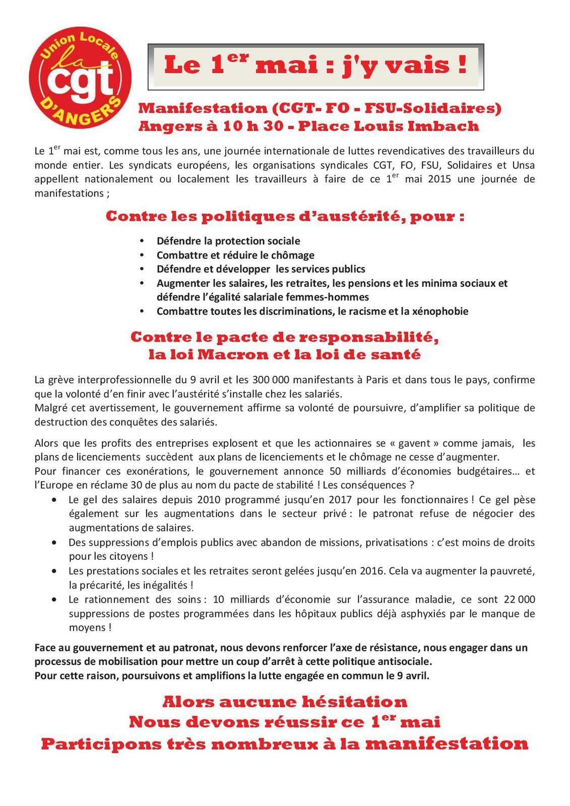 Tract Union Locale Cgt d'Angers.
