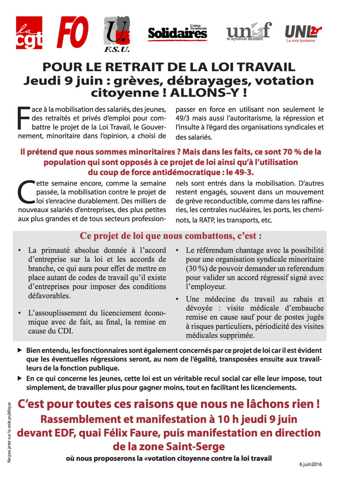 9 juin nouvelle journ e de mobilisation contre la loi dite travail union departementale. Black Bedroom Furniture Sets. Home Design Ideas
