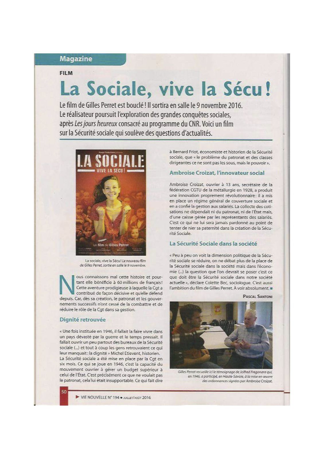 FILM DOCUMENTAIRE LA SOCIALE