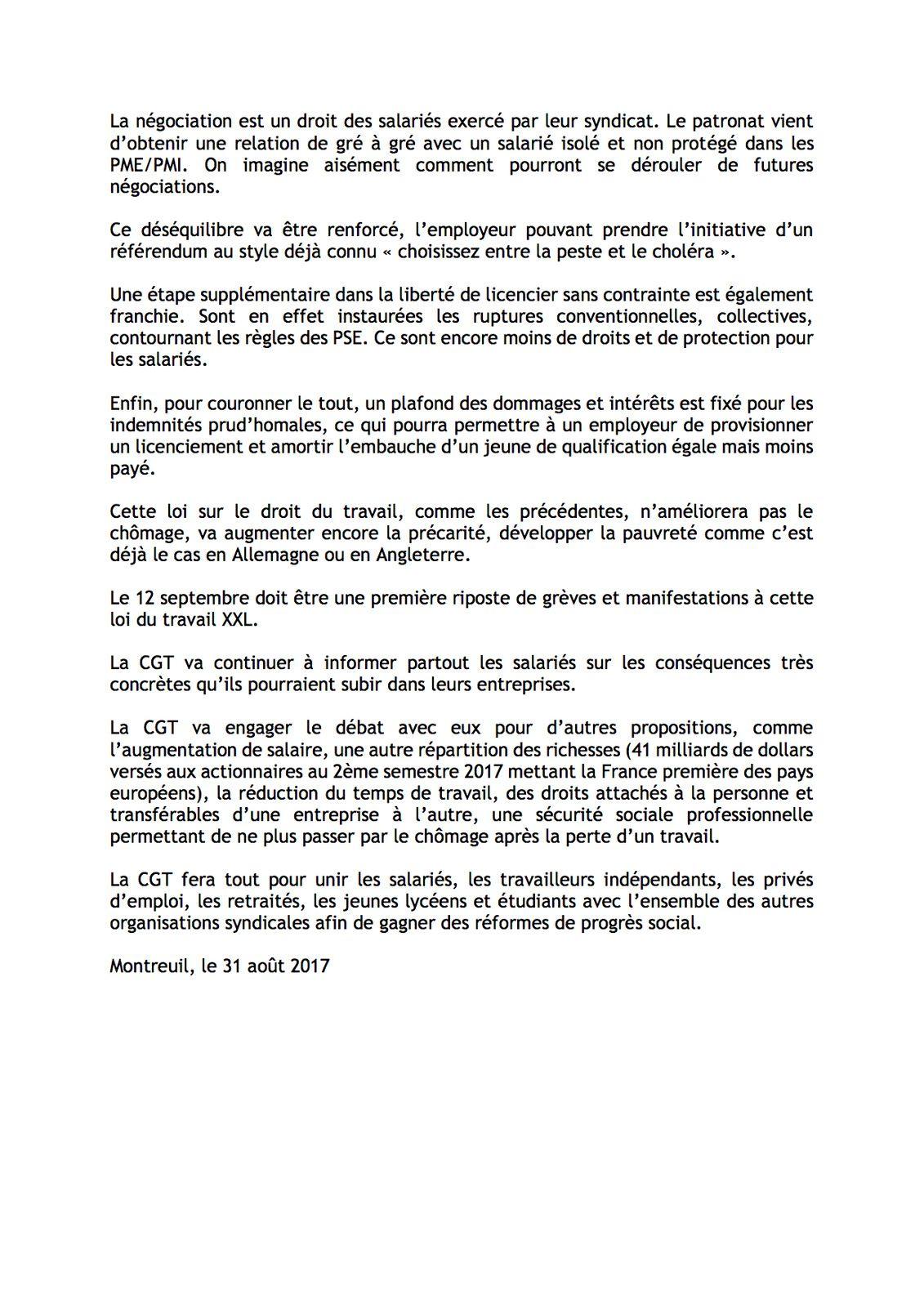COMMUNIQUE DE PRESSE CGT - LOI TRAVAIL XXL