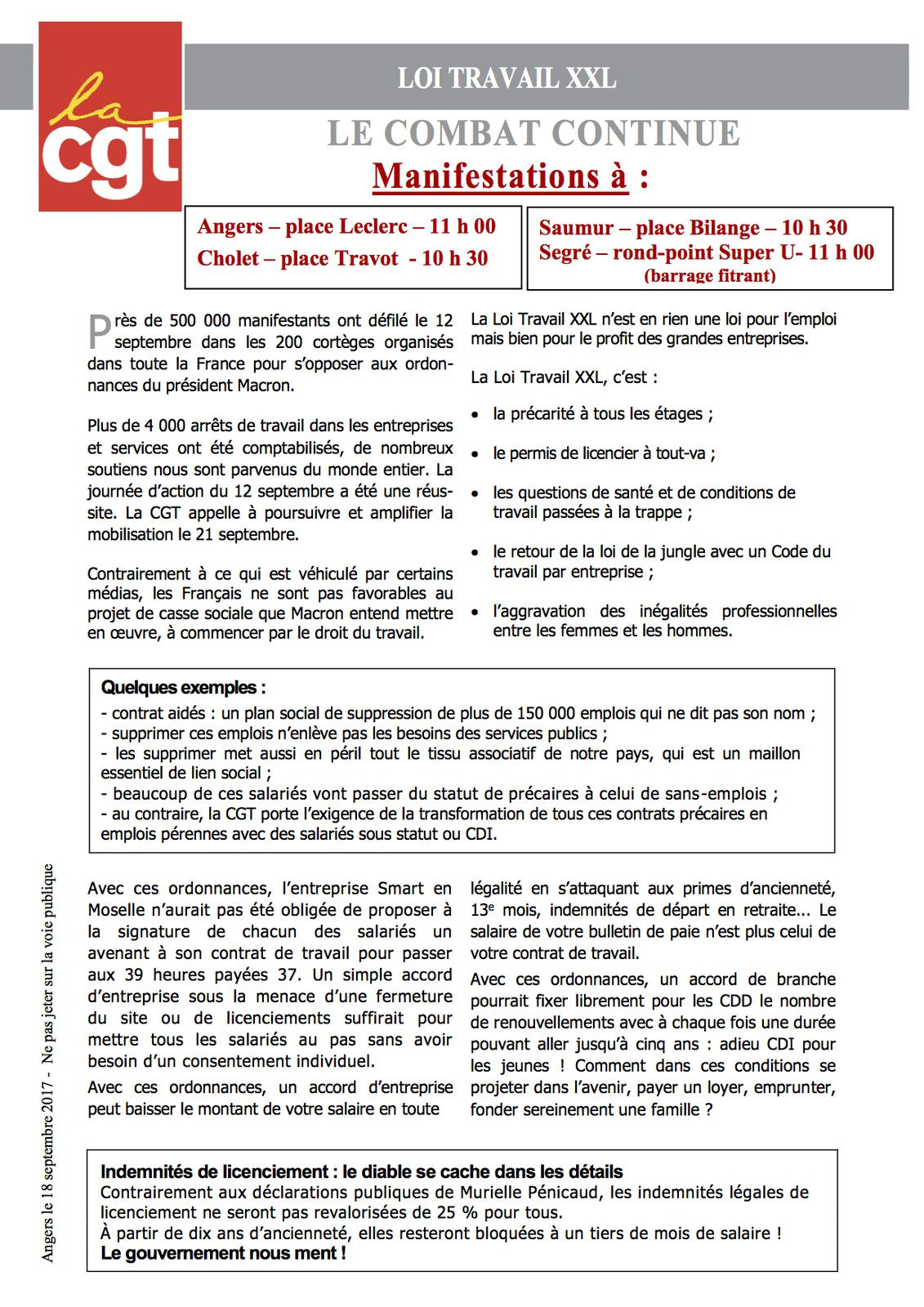 APPPEL INTERSYNDICAL POUR LE 21 SEPTEMBRE