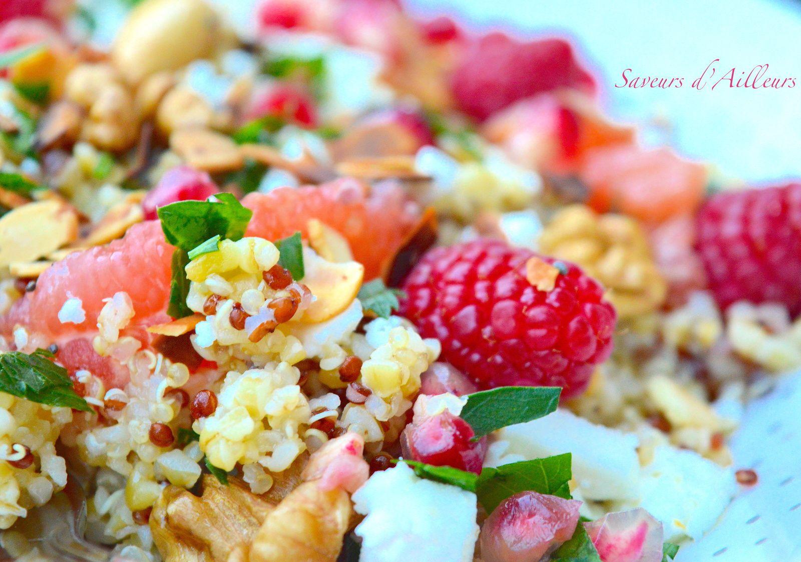 Salade de quinoa boulgour aux fruits  : recette 100% Healthy