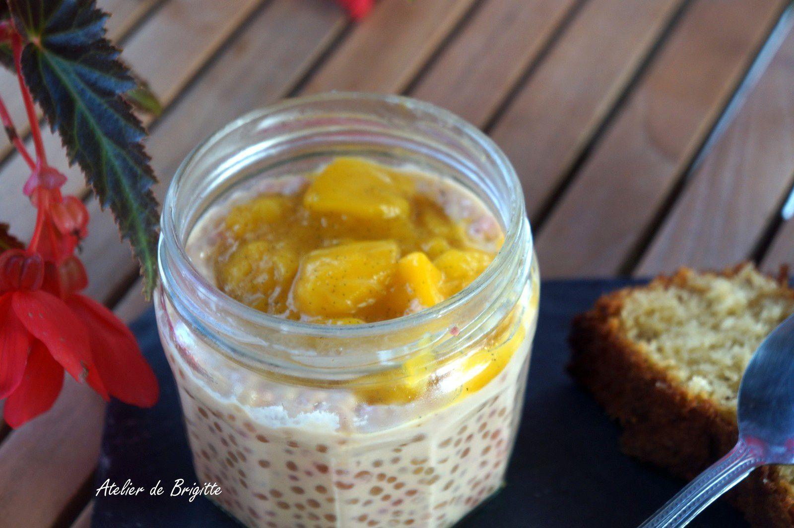 Tapioca ou crèmeux de Perles du Japon et sa compotée de mangue et vanille