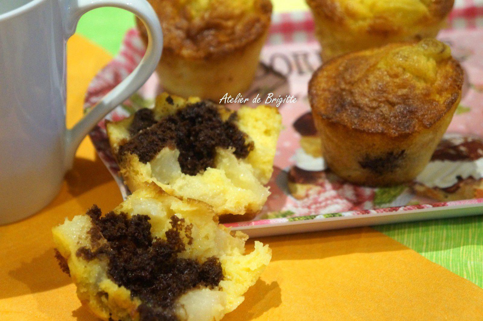 Mini cakes poires rhum au coeur de chocolat
