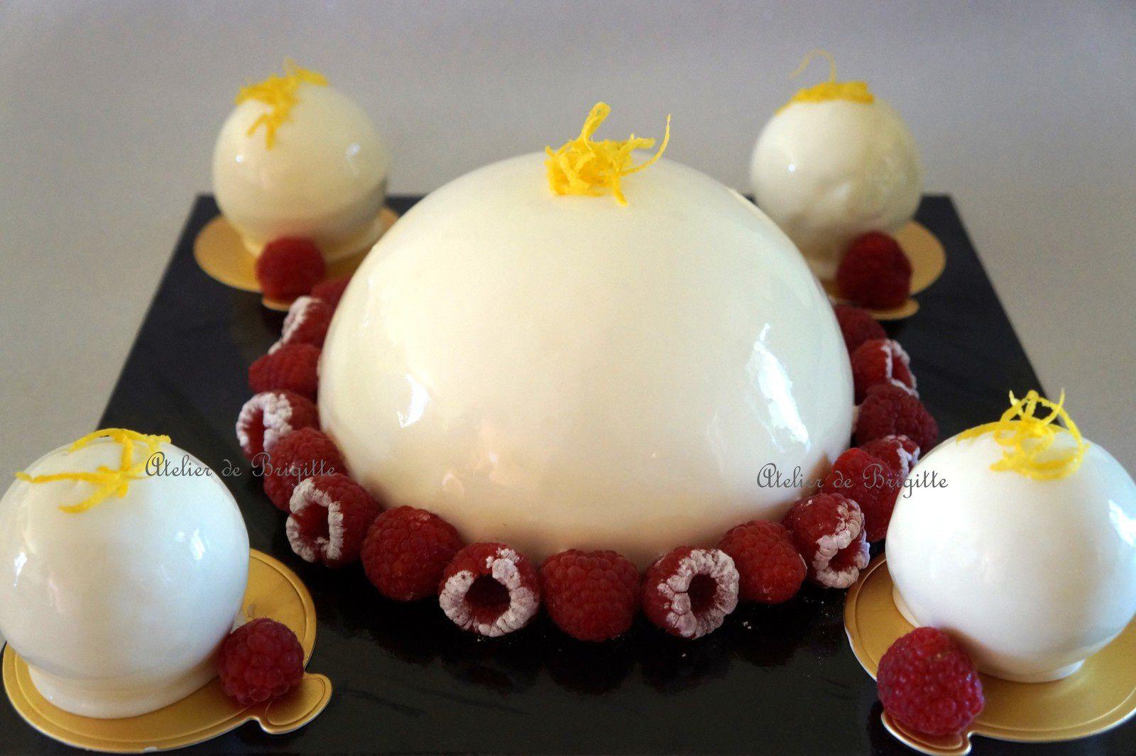 Dôme Citron insert confit de framboises et ses petites sphères