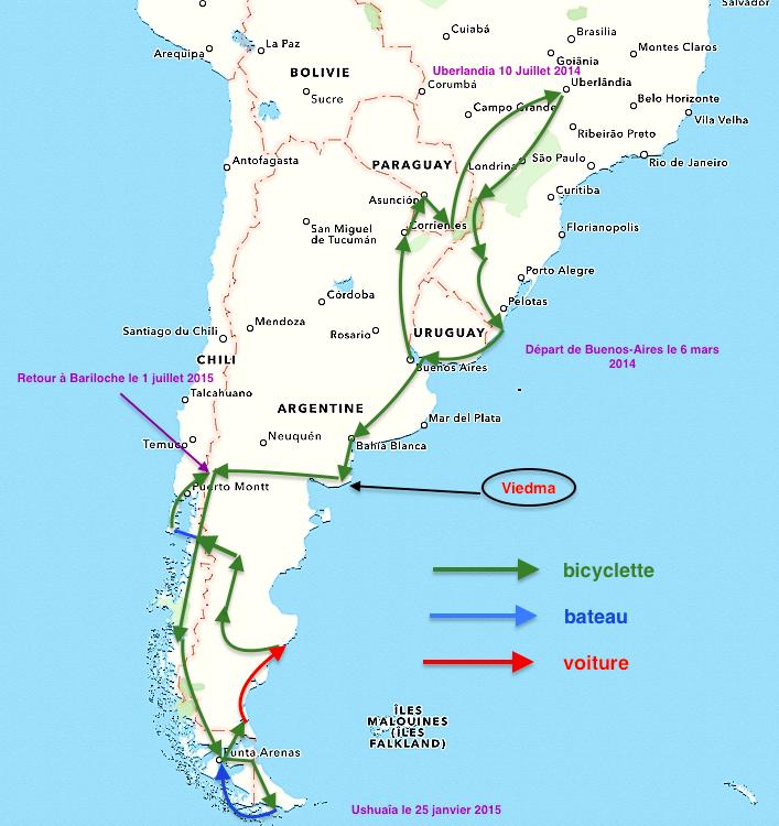 carte de notre pérégrination  en Amérique du sud du 6 mars 2014 au 1 juillet 2015