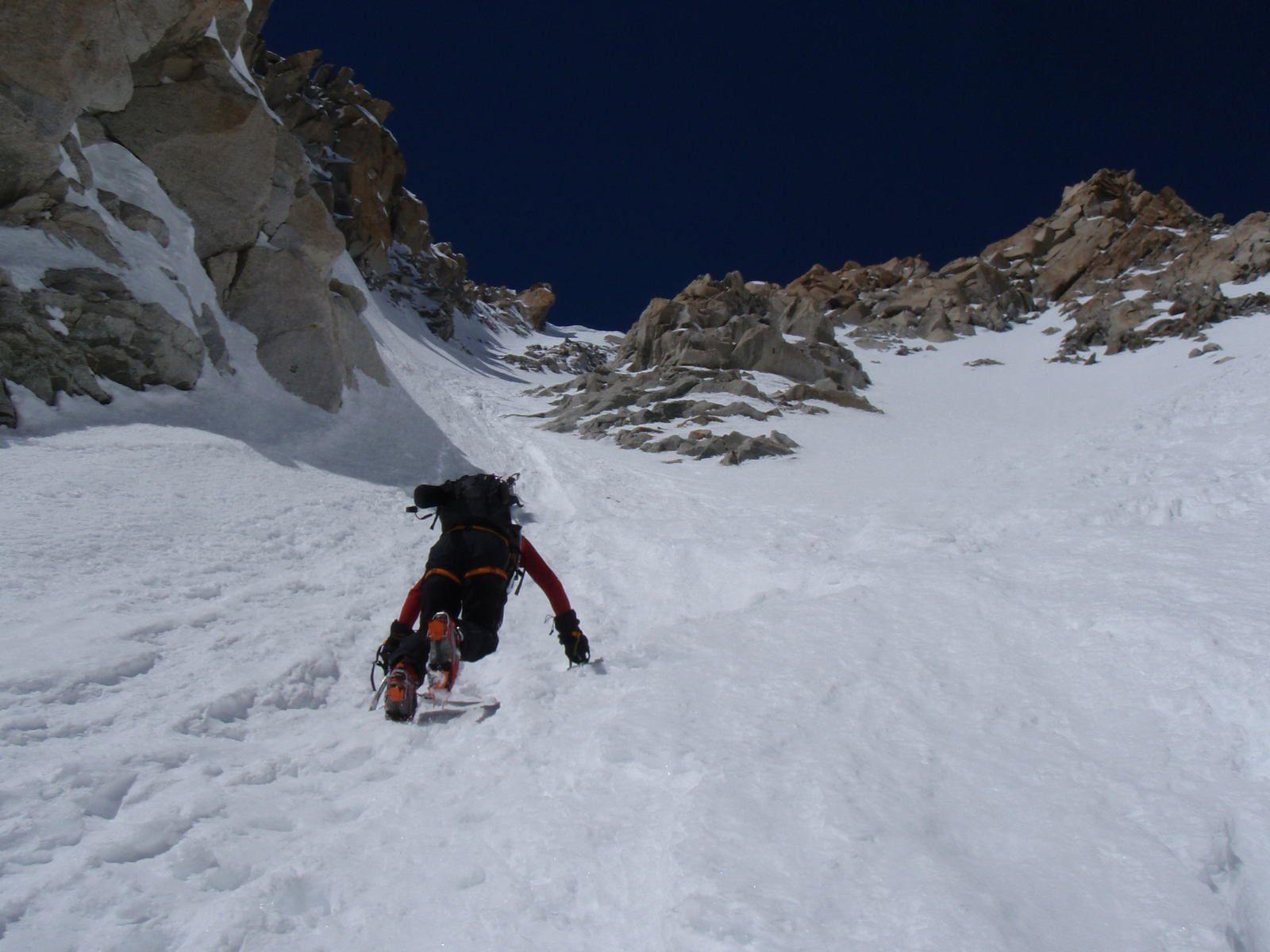 Aiguille d'Argentière: Traversée Couloir en Y&gt&#x3B;Glacier du Milieu 1/2