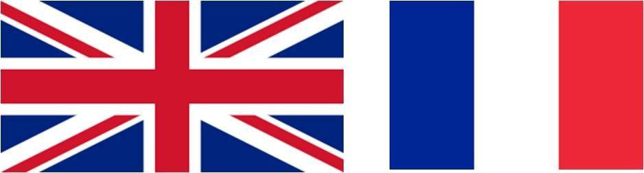 Les drapeaux du Royaume-Uni et de la France, notez les proportions différentes.