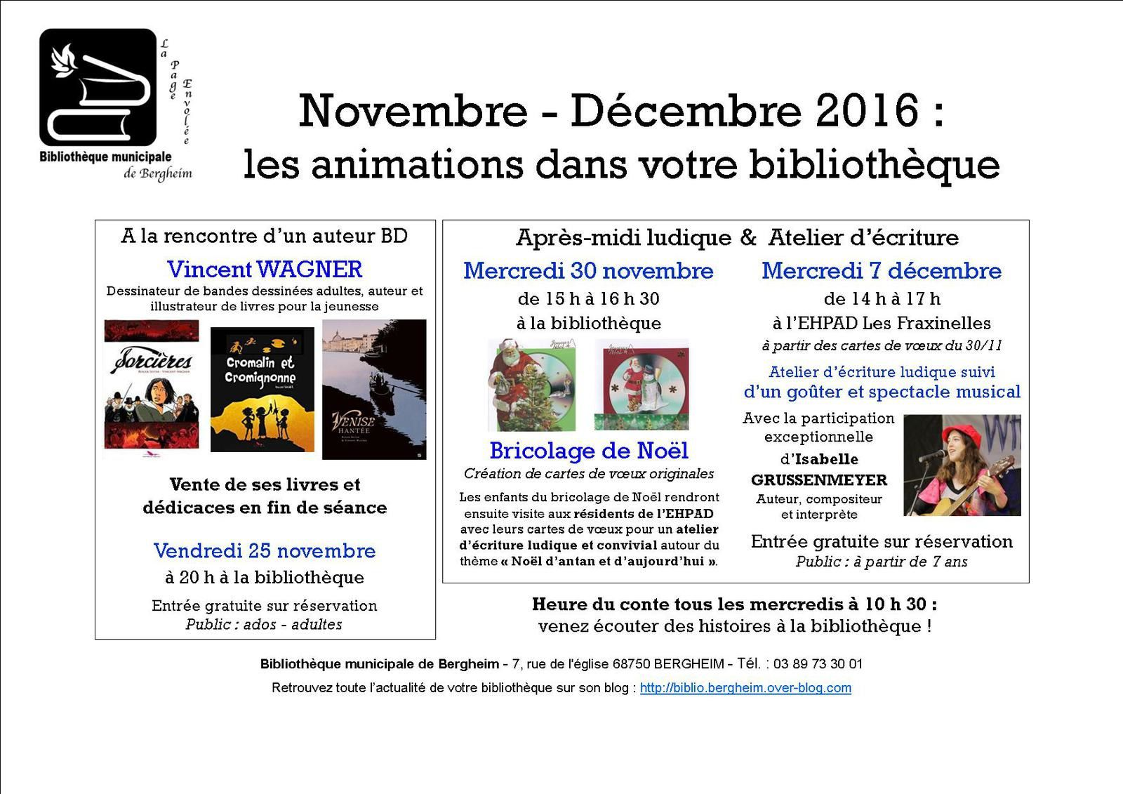 Programme d'animations nov-déc 2016