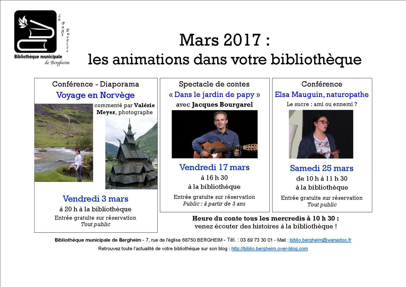 Programme d'animations mars 2017