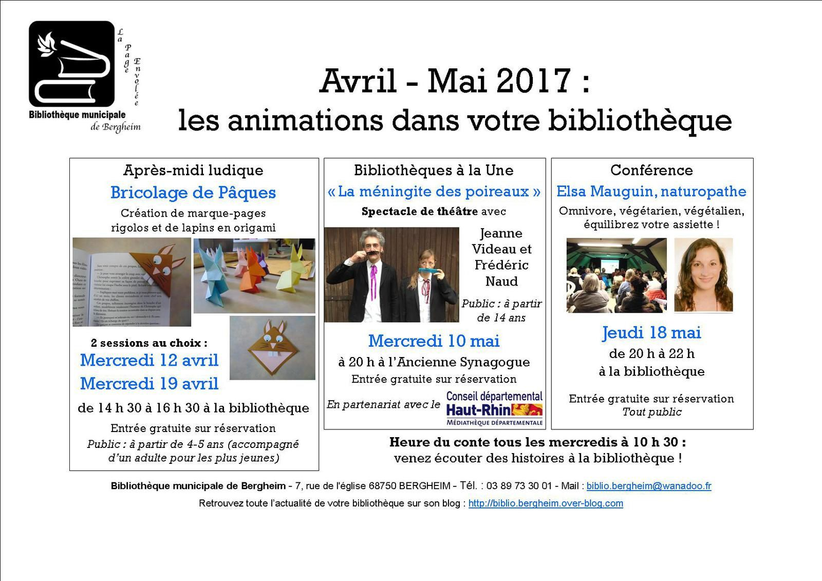 Programme d'animations avril-mai 2017