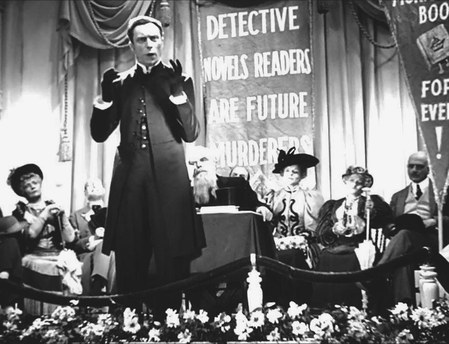 Du témoignage même d'Alexandre Trauner, Prévert s'est beaucoup amusé en écrivant les dialogues de Drôle de drame, notamment tous ces aphorismes, ces proverbes, légèrement appuyés qui font qui produisent des effets délirants tout au long du récit. Comme par exemple, tout au début du film, dans la première scène où l'évêque de Bedfort (interprété par Louis Jouvet) en train d'haranguer la foule sur le mauvais esprit… « (…) Vous lisez les mauvais livres, écrits avec la mauvaise encre du mauvais esprit ! Vous misez des romans légers…, des romans licencieux…, des romans polissons comme disent les français…, ou bien alors des romans policiers, crapuleux et sordides. Mais vous n'êtes pas les plus coupables, pauvres misérables pêcheurs. Ce sont ceux qui écrivent ces livres qui sont les véritables malfaiteurs »