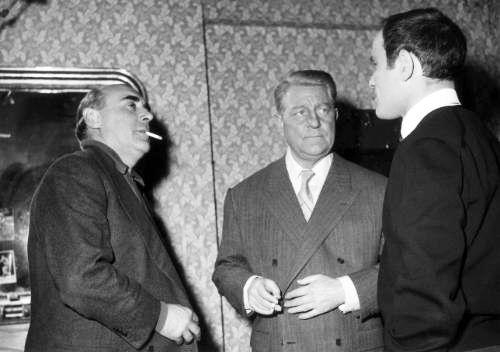 Photo de tournage. Gilles Grangier, Jean Gabin et Marcel Bozzuffi