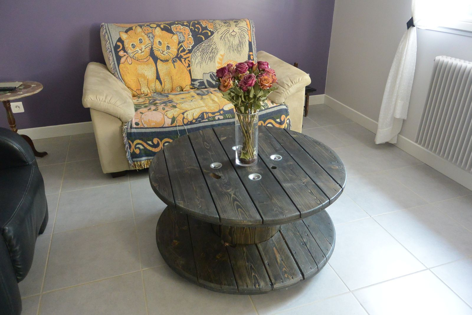 Table basse avec bobine de chantier - Table basse bobine bois ...