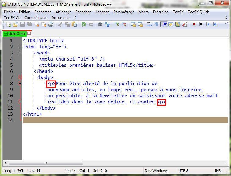 HTML5: Un paragraphe dans une page Web