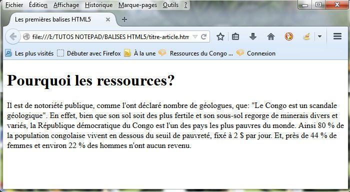 Rendu du code HTML, sous Firefox, sous mise en forme