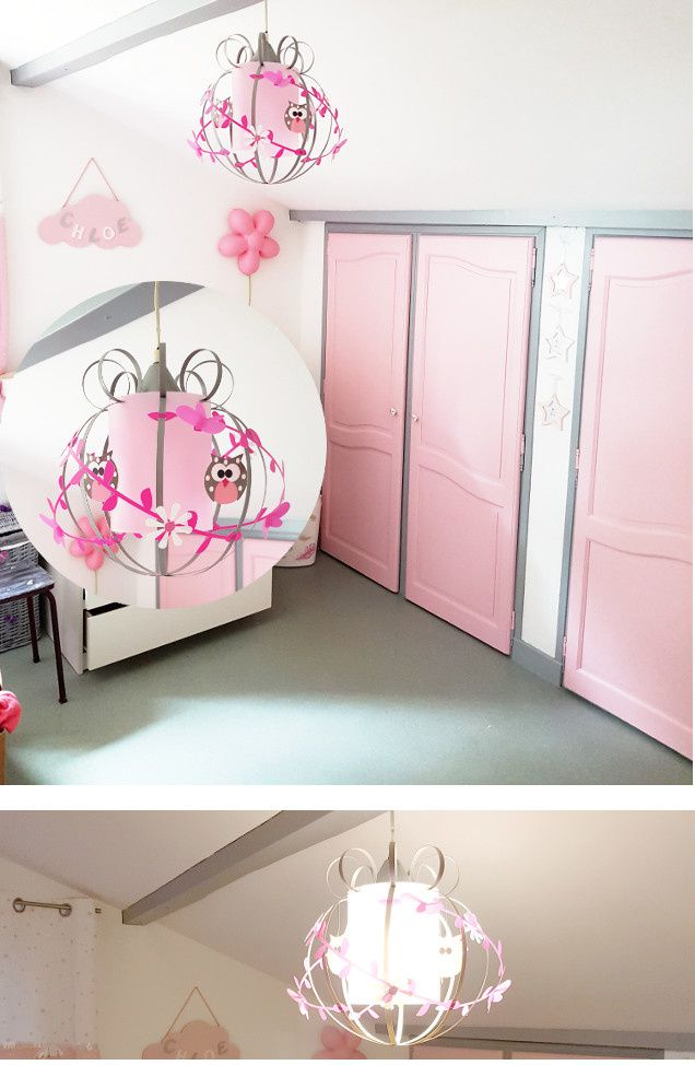 chambre fille rose et grise d co et lustre luminaire enfant lampe casse noisette. Black Bedroom Furniture Sets. Home Design Ideas