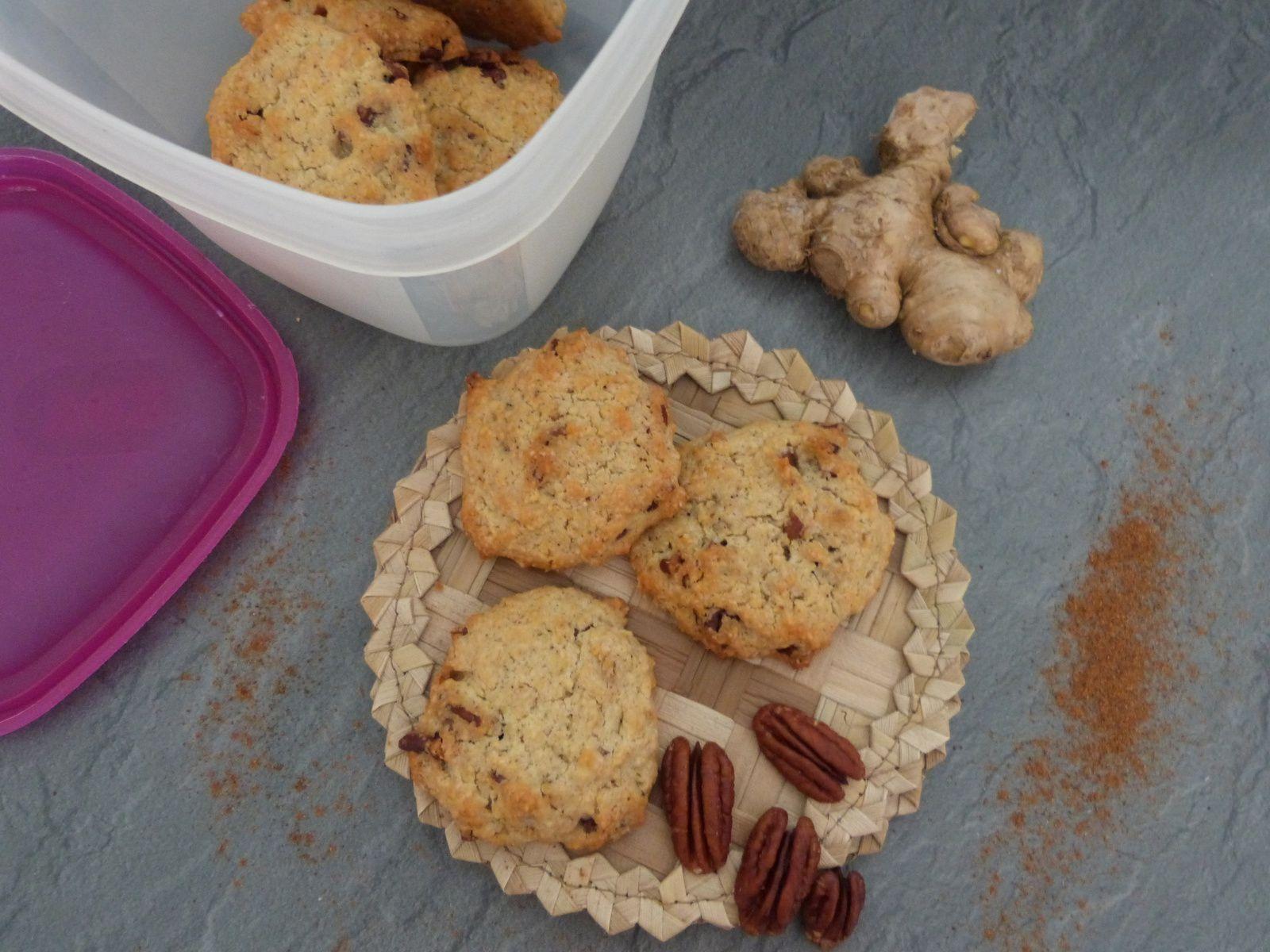 Cookies aux 4 Epices, Gingembre Frais et Noix de Pécan