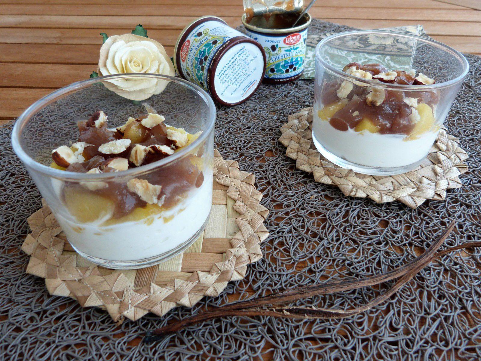 Mousse de yaourt, Pommes Compotées au Rhum et à la Vanille Bleue, Crème de Marron - Les Voyages de Gridelle