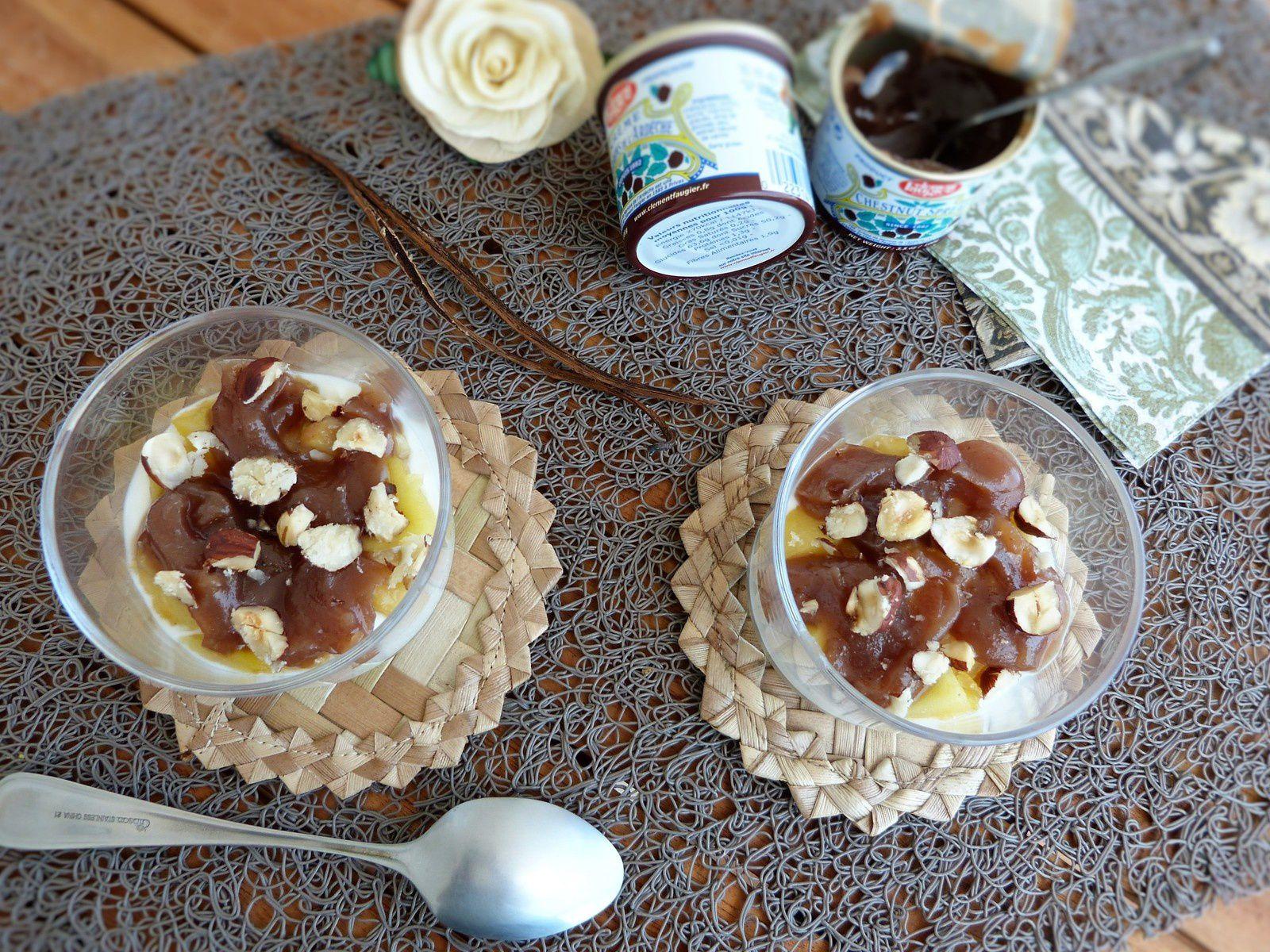 Mousse de Yaourt, Pommes Compotées au Rhum et à la Vanille Bleue, Crème de Marron