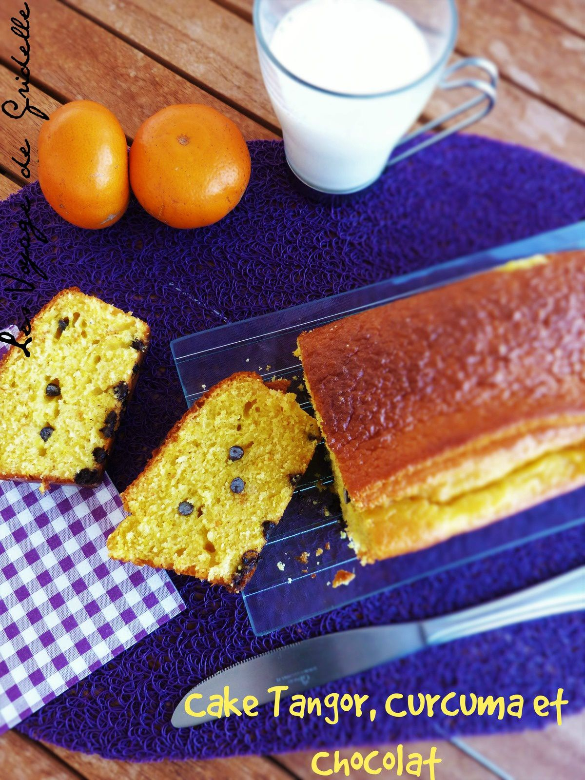 Cake au Tangor (Orange), Curcuma et Chocolat