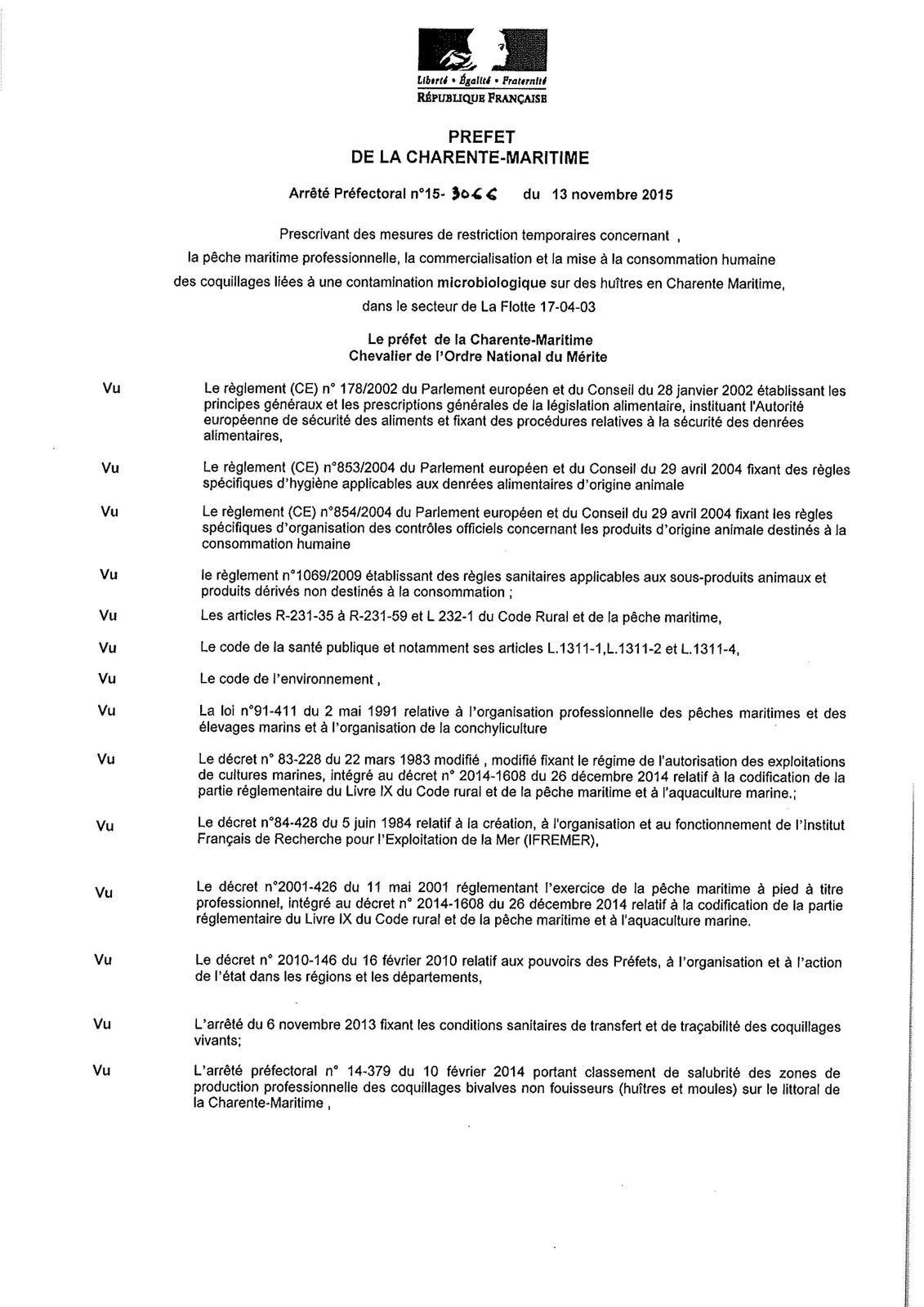 Arrêté Préfectoral du 13 novembre 2015